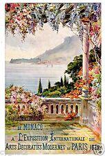POSTCARD MONACO HARBOR 1925 EXPO INT'L DECORATIVE ARTS PARIS SIGNED A. MATHIS