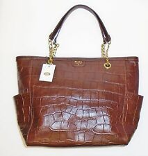 FOSSIL MIMI SHOPPER DARK BROWN CROCODILE LEATHER TOTE,GOLD CHAIN,SHOULDER+BAG