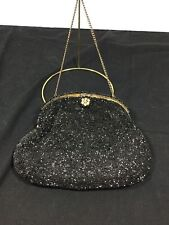 New listing Vintage Hand Made Black Beaded Purse Made In Belgium With Chain Handle