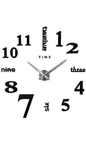 Modern Frameless Large Wall Clock 3D Stickered Metal Numbers for Home or Office