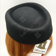 VINTAGE Wool Felt Women Fascinator Ladies Pillbox Hat WEDDING | Black | Round