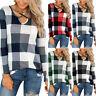 Womens Plaid Long Sleeve V Neck T-Shirt Loose Tunic Casual Blouse Tee Shirt Tops