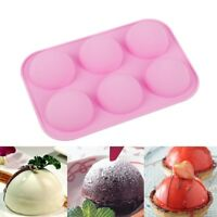 6 Holes Silicone Baking Mold 3D Half Ball Sphere DIY Chocolate Cupcake Cake Mold