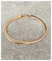 Bracelet Maille Anglaise Plate Plaqué Or 18 Carats Poinçonné Bijoux Femme