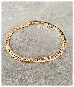 Bracelet Mesh English Flat Gold Plated 18 Gold Hallmarked Jewelry Women