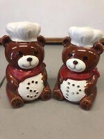Vintage B&D Ceramic Chef Teddy Bear Salt and Pepper Shakers Japan Cooking Bears
