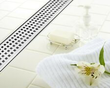 """DreamDrains 32"""" Brushed Stainless Linear Shower Drain Square Pattern, 9 GPM"""