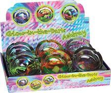 6 Glass Glow In The Dark Mushroom & Color Splash Design Cigarette Ashtrays