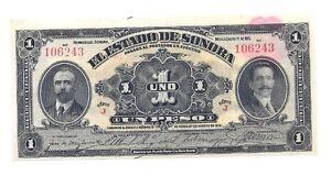 1915 Mexican Revolution Estado de Sonora 1 Peso Banknote Pesos Mexico Currency