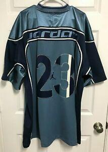 MICHAEL JORDAN 23 Men Blue Jumpman Brand Stitched Football Jersey 3XL Nike 2003