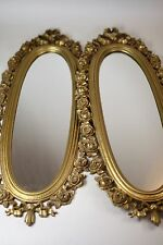 """Old Pair of Vintage Ornate Floral Gold Framed Syroco Oval Wall Mirrors 25"""" x 10"""""""