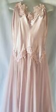 Vtg Romantic Night Women Size Xl Pink Night Gown Lingerie Midi Beads Sequins