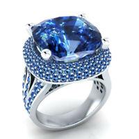 Turkish Handmade 925 Silver Zircon Sapphire Ring Wedding Jewelry Gift Size 6-10