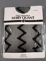 Vintage new old dead stock Mary Quant black zig zag stockings nylons one size
