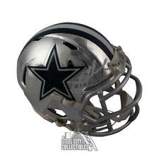 Troy Aikman Autographed Dallas Cowboys Chrome Mini Football Helmet - BAS COA