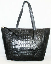 FOSSIL Sydney Large Croco Embossed Black Leather Zip Tote