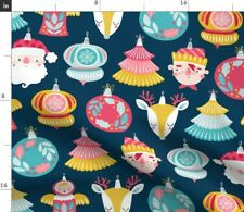 Christmas Cute Retro Deer Winter Whimsical Spoonflower Fabric by the Yard