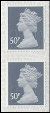 GB Machin Definitive Slate Grey 50p vert pair (2 stamps) MNH 2020