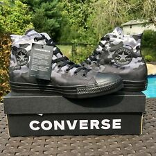CONVERSE SIZES 8.5 to 13 CHUCK TAYLOR ALL STAR  HI TOP BLACK WHITE CAMO SNEAKERS