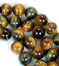 Natural AAA+ 6mm Yellow Blue Tiger Eye Gems Round Loose Beads 15""