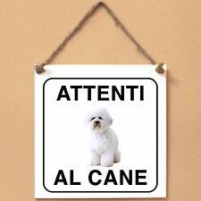 Bichon à poil frisé 3 Attenti al cane Targa piastrella cartello ceramic tile
