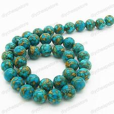 "Natural Howlite Turquoise Gemstone Round Loose Beads 16"" 6MM 8MM 10MM 12MM 14MM"