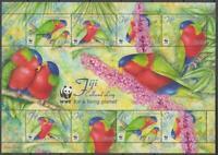 BIRD004 - BIRDS FIJI 2012 COLLARED LORY WWF SHEET MNH