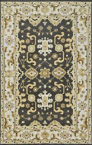Oushak 5'x8' Dark Grey Wool Hand-Knotted Oriental Rug