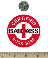 "2 ¾ "" Round Refrigerator Fridge Magnet Certified Bad Ass Rock Star Red RM087"