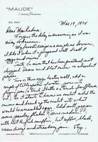 Bill Macy Signed 1974 Handwritten Letter & Eggs Recipe on Maude Letterhead