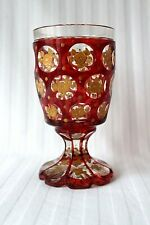 Antique Bohemian Biedermeier Ruby red cut to clear enameled glass goblet c 1875