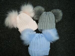 Baby grey,blue ,pink double bobble  faux fur pom pom  knitted hat
