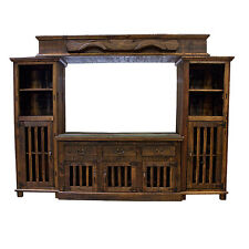 Rustic Entertainment Center TV Stand Dark Finish Western Real Wood Cabin Lodge