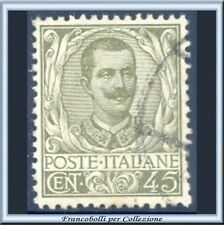 1901 Italia Regno Floreale Vittorio Emanuele III° cent. 45 oliva n. 75 Usato