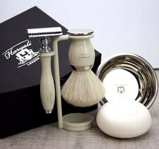 Elegant Complete Shaving Set |DE Safety & Pure White Badger Brush| Gift for Him