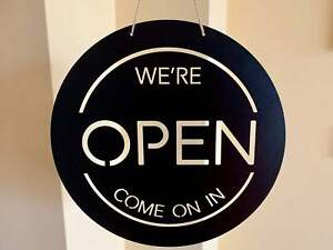Personalized Open Shop Metal Sign Custom Business Office Plaque Reversible Sign
