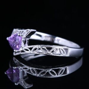 Solid 18K White Gold Nice Gemstone Ring Trillion Amethyst 0.23CT Classical Style