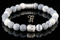 Jaspis weiß grau matt Armband Bracelet Perlenarmband Buddhakopf silber 8mm