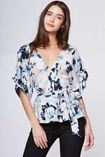 NWT YUMI KIM That's A Wrap Kimono Flower Silk Blouse Top Surfer Blue gray S M