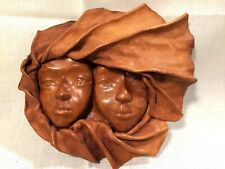 Vntg Handcrafted Leather Children's Faces Wall Hanging Tribal African Folk Art