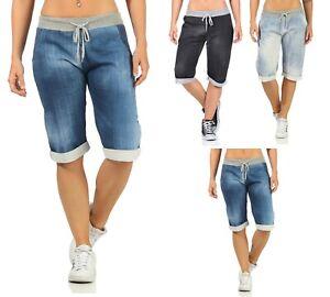 Bermuda Shorts Damen Jeans-Optik knielang Jogginghose Sweatshorts mit Taschen