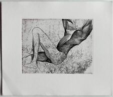 Abstract NUDE etching 1950s Austrian artist