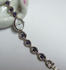LEE SANDS Designer Blue Sodalite Bead Band Watch Bracelet