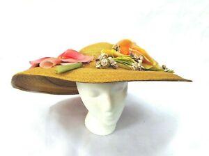 Hattie Carnegie Vintage 1950s large straw silk flowers rare summer hat lovely!