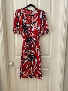 Trenery Dress Size 14 Red Print Lined Knee Length Never Worn