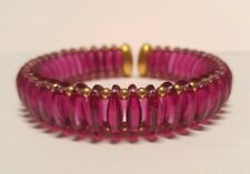 RARE Swarovski Swan Logo Signed Pink Purple Fushia Crystal Glass Bracelet