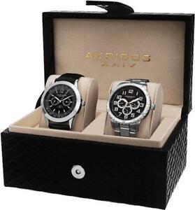 Akribos XXIV AK740SSB Day Date AM PM GMT Silvertone Black Mens Watch Set
