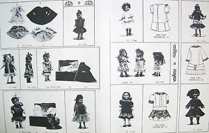 "GERMAN FRENCH MIGNONETTE 5""-8"" DOLL DRESS WARDROBE PATTERNS ALL BISQUE"" NO DOLL"