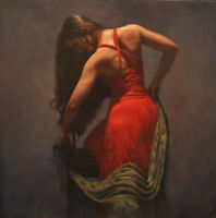 ZOPT771 fine 100% hand painted red long dress lady art OIL PAINTING on CANVAS