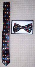 Multi Color Stars Adjustable Bow Tie & Multi Color Stars Neck tie Combo Set-New
